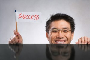 person with success sign